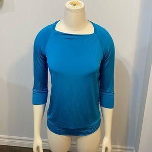 Lida Baday NEW M 3/4 Sleeve Top Activewear Blue